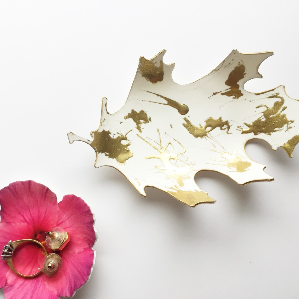 Printable ring dishes - leaf & flower